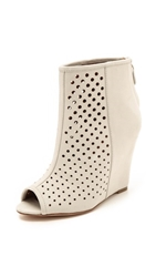 Rebecca Minkoff Sienna Perforated Wedge Booties Putty