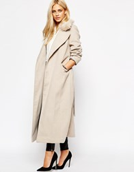 Oasis Formal Duster Coat With Fur Collar Mink