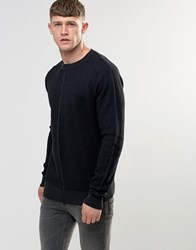 Bellfield Engineered Jaquard Knitted Jumper Charcoal Grey