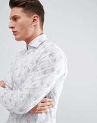 Selected Homme Slim Fit Smart Shirt With All Over Print White