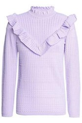 Sandro Ruffle Trimmed Pointelle Knit Sweater Lilac