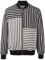 Mcq By Alexander Mcqueen Striped Bomber Jacket Black