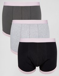 Asos Trunks With Pink Waistband And Binding 3 Pack Grey