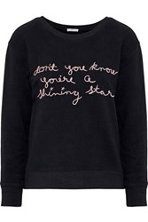Joie Rikke B Embroidered French Cotton Terry Sweatshirt Black