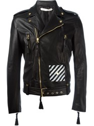 Off White Striped Detail Biker Jacket Black