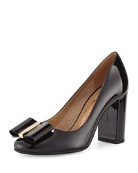 Salvatore Ferragamo Elinda Patent Bow 85Mm Pump Black Nero