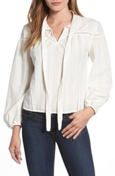 Caslon Woven Peasant Top Ivory Cloud Bonnie Dobby