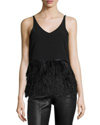 Romeo And Juliet Couture Sleeveless Ponte Feather Hem Top Black