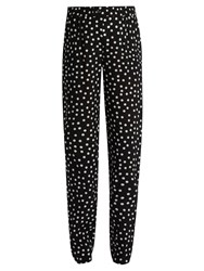 Dolce And Gabbana Slim Leg Polka Dot Print Silk Trousers Black White