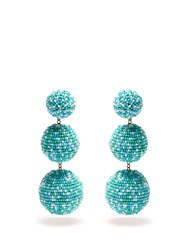 Rebecca De Ravenel Bead Embellished Drop Clip On Earrings Blue