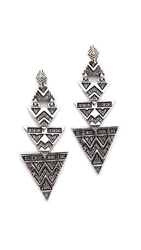 House Of Harlow 2 Way Pave Tribal Triangle Earrings Silver