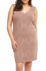 Tart Plus Size Women's Rebecca Metallic Sheath Dress Dusty Rose Gold