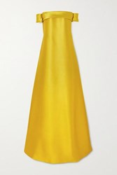 Reem Acra Off The Shoulder Bow Detailed Mikado Gown Yellow