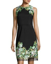 Donna Ricco Floral Embroidered Sheath Dress Black Pattern