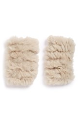Women's Jocelyn Genuine Rabbit Fur Fingerless Mittens Beige