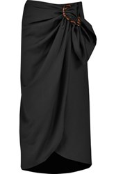 J.W.Anderson Gathered Wool Twill Midi Wrap Skirt Black