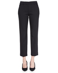 Helmut Lang Cropped Wool Crepe Dress Pants