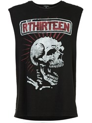 R 13 R13 Skull Print Sleeveless T Shirt Black