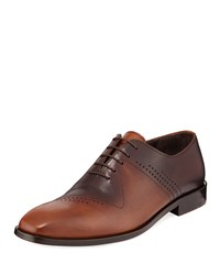 Jared Lang Antiqued Leather Lace Up Dress Shoes Brown