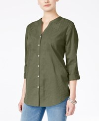 Jm Collection Embroidered Shirt Only At Macy's Olive Sprig