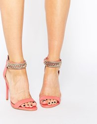 Forever Unique Totem Embellished Barely There Leather Heeled Sandals Pink