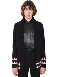 Saint Laurent Embellished Jacquard Wool Cardigan Black