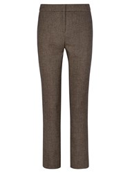 Viyella Wool Blend Twill Trousers Chocolate