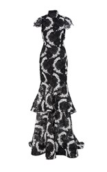 Christian Siriano Lace Tiered Cap Sleeve Gown Black White