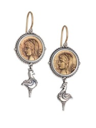 Konstantino Kerma Bronze And Sterling Silver Coin Drop Earrings Bronze Silver