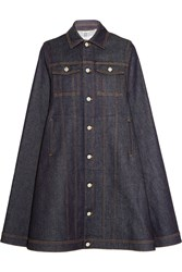 Givenchy Cape In Dark Blue Denim Dark Denim