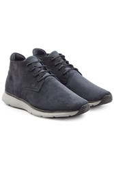 Hogan Suede Ankle Boots With Rubber Sole Blue
