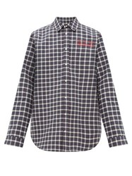 Martine Rose Logo Embroidered Checked Bonded Cotton Shirt Grey Multi