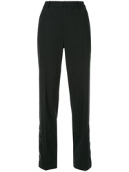 Le Ciel Bleu Button Hem Straight Leg Trousers Black