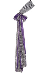 Missoni Crochet Knit And Printed Silk Chiffon Headband Purple