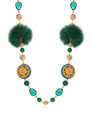 Dolce And Gabbana Daisy Fur Crystal Embellished Necklace Green Multi