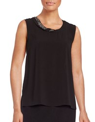 T Tahari Angelica Embellished Shell Black
