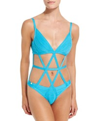 Herve Leger Cutout Bandage One Piece Swimsuit Caribbean Blue