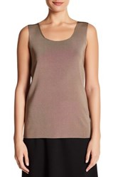 Lafayette 148 New York Long Scoop Neck Tank Gray