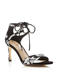 Via Spiga Skylar Floral Open Toe Lace Up Sandals Black White