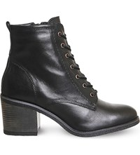 Office Latch Leather Ankle Boots Black Leather