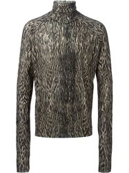 Haider Ackermann Leopard Print Turtle Neck Sweater Black
