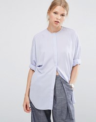 Asos Oversized Batwing Blouse Heather Blue