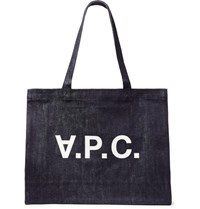 A.P.C. Daniel Printed Denim Tote Bag Dark Denim