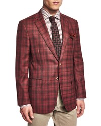 Isaia Dustin Plaid Two Button Sport Coat Red Brown
