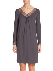 Hanro Valencia Long Sleeve Lace Trimmed Jersey Nightgown Shale