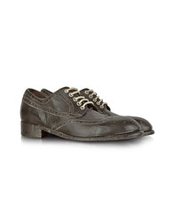 Forzieri Dark Brown Tuffato Leather Wingtip Derby Shoes