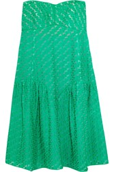 Missoni Strapless Ruched Crochet Knit Dress Green