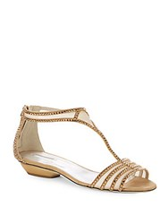 Giorgio Armani Studded Open Toe Dress Sandals Beige