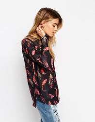 Asos Long Sleeve Top With Feather Print Multi