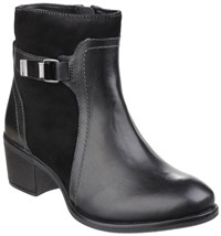 Hush Puppies Fondly Nellie Zip Up Ankle Boots Black